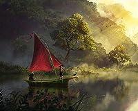 数字でペイントキャンバスカラー原稿ボートリバーアート霧の夜明け数字でDiyデジタル絵画現代の壁アート油絵ホリデーギフト家の装飾ビッグサイズ カスタマイズ可能 40x50cm DIYフレーム