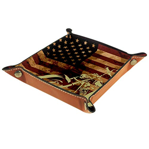 YATELI Caja de Almacenamiento pequeña, Bandeja de Valet para Hombre,Bandera Americana con Calavera de Motocicleta,Organizador de Cuero para Llaves de Caja de Monedas