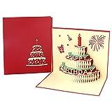 Neborn 1pcs Tarjeta de Pastel de Regalo de cumpleaños Pop Up Tarjetas de felicitación 3D con sobre Invitación Postal Aniversario de Origami Hecho a Mano