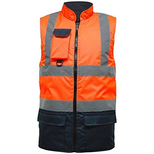 Hi Viz Vis Bodywarmer Fleece gevoerde Omkeerbare Hoge Zichtbaarheid Reflecterende Waterdichte Workwear Veiligheid Draag Warm Gilet Waistcoat Body Warmer Gewatteerde Vest Grote Maat S-5XL