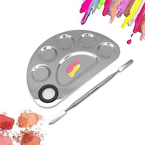 LifeBest Acier Inoxydable 6 Trous Maquillage Palette Nail Art Polonais Plaque De Mélange Cosmétique Artiste Mélange Palette pour Mélanger Fondation Manucure Ongles DIY Outil