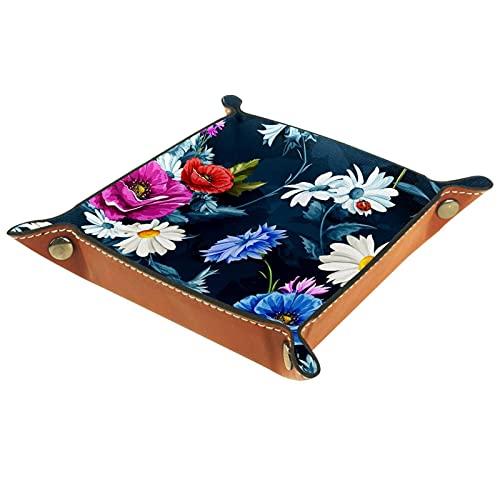 Bandeja de dados plegable para dados con ruedas, bandeja cuadrada para dados, soporte de piel sintética, para juegos de dados como RPG, DND y otros juegos de mesa, café floral azul flor
