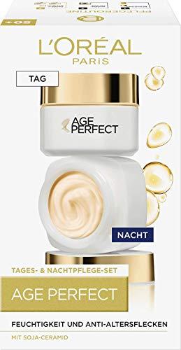 L'Oréal Paris Age Perfect Soja Anti-Aging Geschenkset, Tag und Nacht Gesichtscreme mit Soja-Ceramiden, mildert Altersflecken und strafft die Haut, 2x 50ml