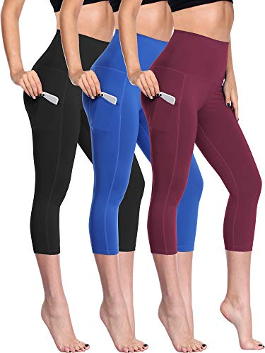 Neleus Women's 3 Pack Tummy Control High Waist Capris Leggings Yoga Pants,109,Black,Blue,Wine Red,US 2XL