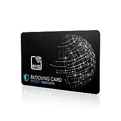 RFID Blocker Karte I Neuste E-Field Störsender-Technologie - zum Schutz vor Datendiebstahl I extra dünne Karte mit 0,8 mm geeignet für jede Geldbörse I Kartenschutz I NFC Schutz