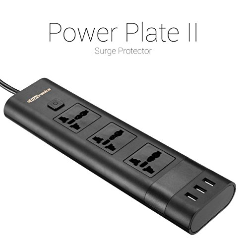 Portronics POR-671 5A Electrical Universal Sockets and 3 USB Ports (Balck)