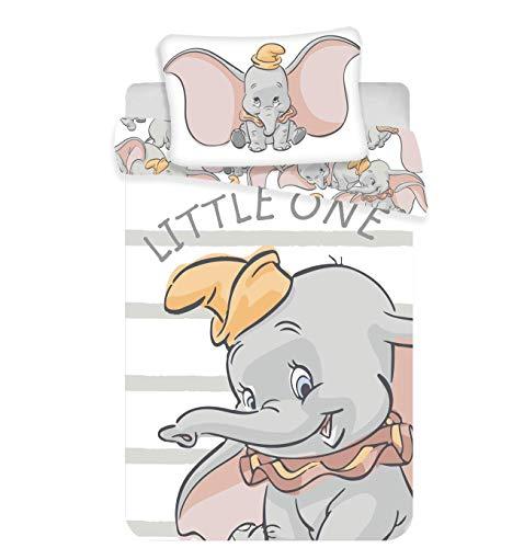 Juego de ropa de cama para bebé, 2 piezas, 100% algodón, tamaño: 100 x 135 cm, 40 x 60 cm, certificado Öko-Tex Standard 100 (Dumbo Baby)