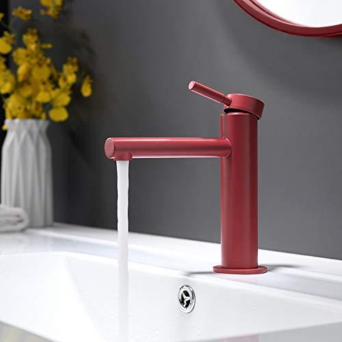U/D Grifería Minimalista tocador de baño Completo Cobre Cilindro Grifo de Agua Caliente y fría Acondicionado Orificio de Grifo (Color : Rojo)