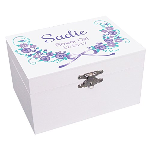 Personalized Flower Girl Lavender Garland Jewelry Box Ballerina Musical Plays It's a Small World