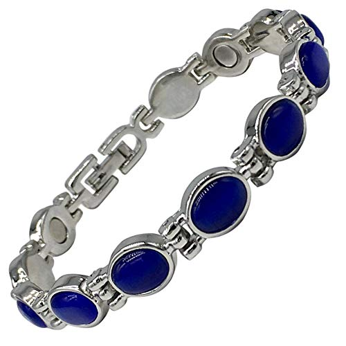 Helena Rose Magnetic Therapy Bracelet for Women with Royal Blue Lapis Semi-Precious Stones - Fits Wrists up to 17.5 cm - Great for Arthritis, Pain Relief, Menopause Symptoms, Plus Jewellery Gift Box