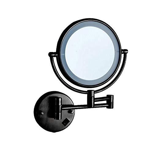 Bath Miroirs de Maquillage Lumineux à grossir au Mur - Double miroirs de courtoisie en Bronze, côté Repliable, grossissement 3 Fois Bouton on/Off,Black_8inch