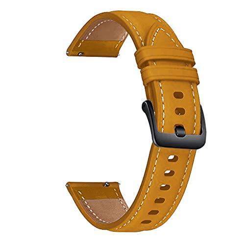 Correa de piel para reloj de 22 mm, correa de piel, correa de reloj de 22 mm (color de la correa: amarillo, marrón, negro, ancho de la correa: 22 mm)