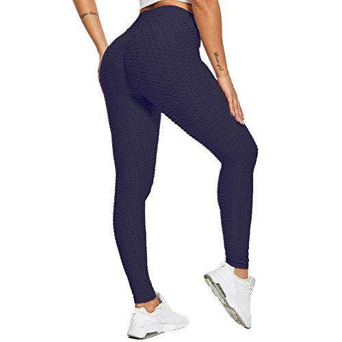 SotRong Hohe Taille Yogahose mit Bauchkontrolle Fitness Workout Leggings Laufen Sport Gym Stretch Strumpfhosen Hosen für Damen Marineblau L