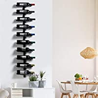 yaheetech porta bottiglie vino da parete 126 cm scaffale metallo vino porta 10 bottiglie mobile esposizione vino nero