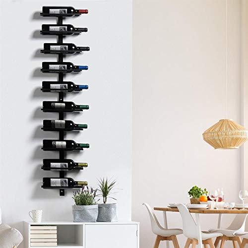 Yaheetech wandrek wijn wijnrek flessenrek van metaal voor 10 wijnflessen om op te hangen perfecte decoratie in zwart