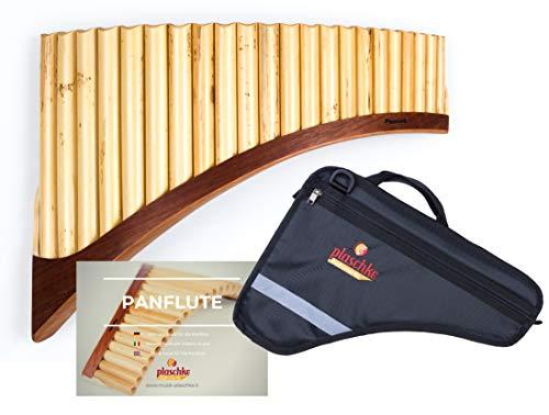 Flauto di pan in bambù con 22 tubi in C-Dur con scarpa in legno di alta qualità in set con custodia e libro di apprendimento, fatto a mano da Plaschke Instruments dal Sud Tirolo/Italia