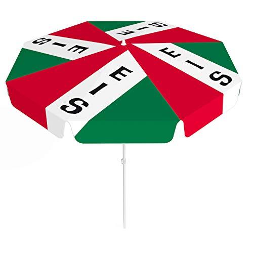 Vispronet® Sonnenschirm, rund, Volant ∅ 180 cm Italienisches EIS ✓ 2-teiliger Schirmstock ✓ 4-teilig Bedruckt ✓ Durchdruck des Motivs ✓ kippbar