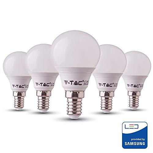 V-TAC 7W risparmio energetico P45 Palla da golf lampadina LED 45W equivalente con Samsung LED E14 SES (piccola vite Edison) 3000K Colore bianco caldo non dimmerabile confezione da 5