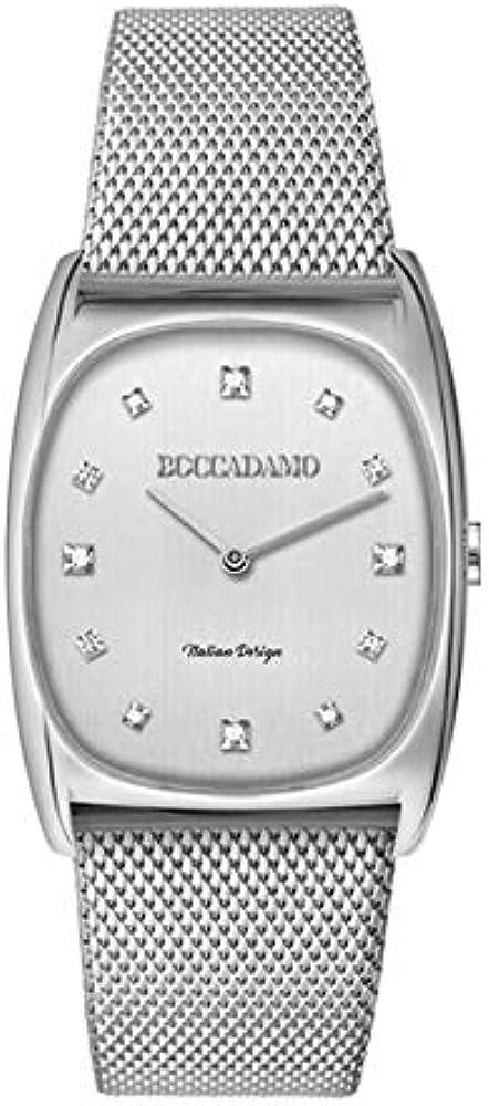 Boccadamo,orologio da donna,in acciaio,indici in cristallo swaronvski, lancette rodiate AT001
