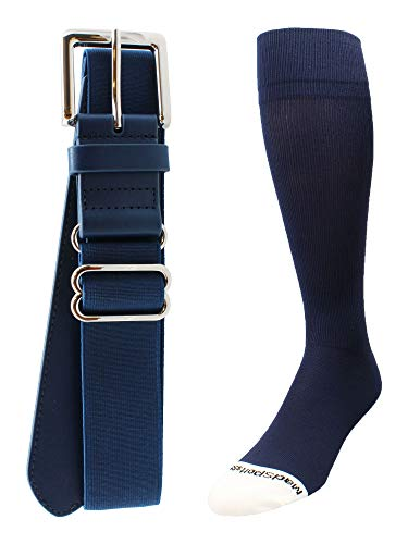 MadSportsStuff Pro Line Baseball Socks and Belt Combo (Navy, Large)