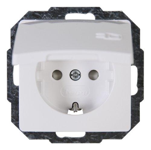 Kopp 920802069 Klappdeckel Paris Schutzkontakt-Steckdose mit Deckel und erhöhtem Berührungsschutz, arktis