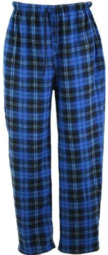 i-Smalls Herren Klassischer Karierter Polar Unterteil Pyjama Fleece Flausch Hausanzughose Schlafanzughose Nachtanzug (Blau) M
