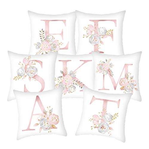 HIGHKAS Christmas Cushion Cover Xmas Cushions Cover Pillow Cover Bedroom Decoration Items Flower Alphabet Pillowcase Decorative Cushion Cover Letter Throw Pillow Case 1pcs