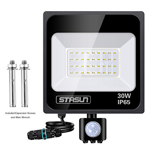 STASUN 30W Foco led exterior con Sensor Movimiento de alto brillo 2700lm Proyector led exterior de impermeable IP65 Iluminación led de seguridad luz led para Patio Jardín Camino