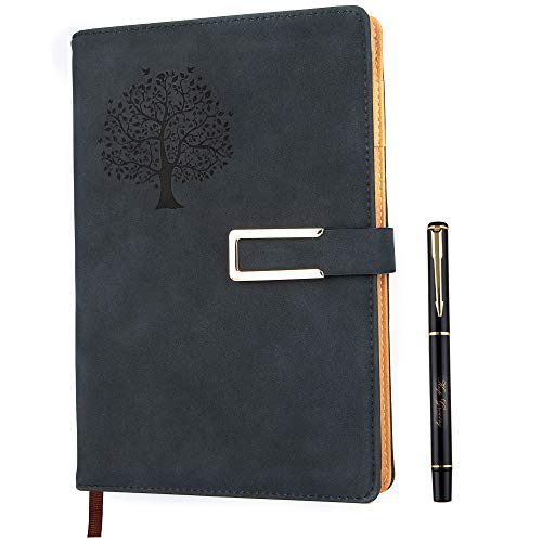 Tree of Life Dotted Bullet Grid Journal - Dot Grid Hardcover Refillable Writing Notebook A5 Faux Leather 200 Pages Thick Paper-100gsm With Pen & Magnetic Buckle(Black)