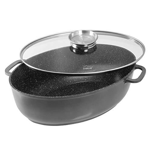 STONELINE 13981 Rostiera da Gourmet, Coperchio Salva-Aroma in Vetro, Rivestimento Antiaderente