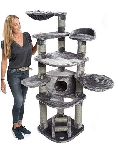 JAMAXX Premium XXL Kratzbaum für große Katzen H175cm extra-Dicke 11 cm Stämme stabil, extra-weiches Soft-Plüsch, PCT6003 (grau)