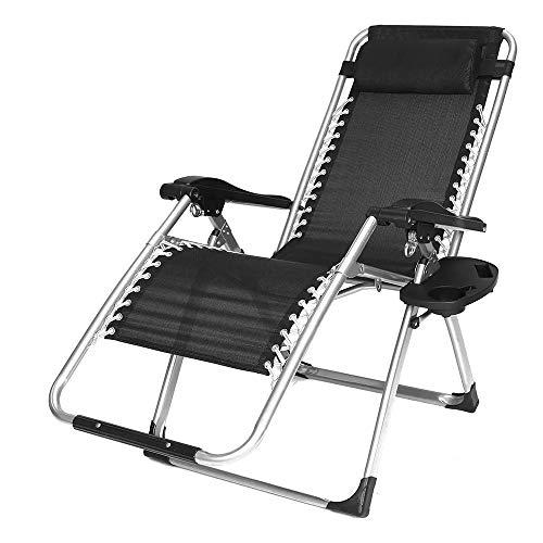 zxz Silla Zero Gravity, sillones con portavasos, sillones reclinables Plegables para Patio, Cuerda elástica Duradera, Estructura de Tubo de Acero, ángulo Ajustable, para jardín de casa, Patio Trasero