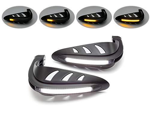 Motorrad Handprotektoren mit LED Blinker & Tagfahrlicht - Schwarz - DRL Adventure Motorrad Strasse Fahrrad Quad Trike
