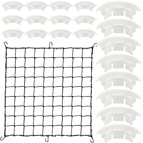 Grow Netting and 20 Pieces Plant Bender Set Flexible Net Trellis for Grow Plant Tent Elastic Trellis Netting with Hooks Plant Growing Net for Garden Balcony Yard Plants (3 x 3 Feet Net, 3.1 Inch Clip)