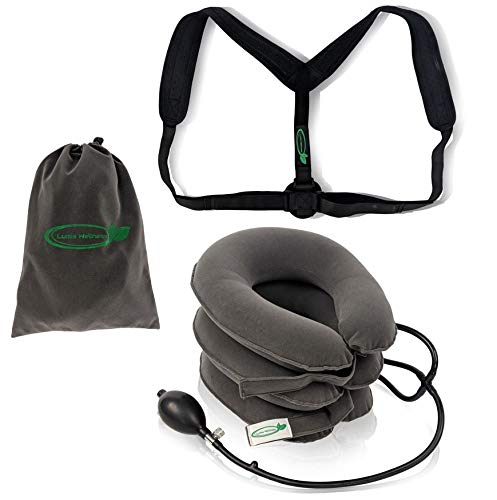 Lumia Wellness Posture Revival Kit | Inflatable & Adjustable Cervical Neck Traction Device + Posture Corrector Bundle | Carrying Bag Included