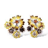 Santuzza Sunflower Drop Earrings Genuine 925 Sterling Silver Gorgeous Yellow Nano Cubic Zirconia Handmade Enamel Earring Jewelry For Women
