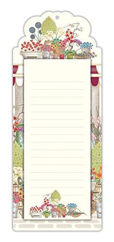 Quire - Bloc de notas magnético para lista de la compra, diseño de flores, 60 hojas, tamaño 245 mm x 100 mm