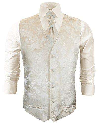 Paul Malone Hochzeitsmode Hochzeitswesten Set 5tlg Ivory Paisley + Casa Moda Hochzeitshemd Champagner