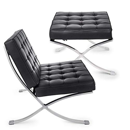 Ybzx Durable Barcelona Stuhl und Hocker Lounge Chair und Ottoman Set PU Leder Mitte Jahrhundert Moderne Klassische gepolsterte Replica Freizeit Lounge Chair mit Fußstütze Ottomane (schwarz)