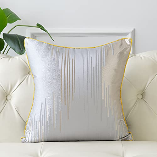 FOOCHY Funda de cojín de color plateado con textura moderna de lujo para sofá, dormitorio, sala de estar, decoración del hogar, 45 x 45 cm, 1 unidad