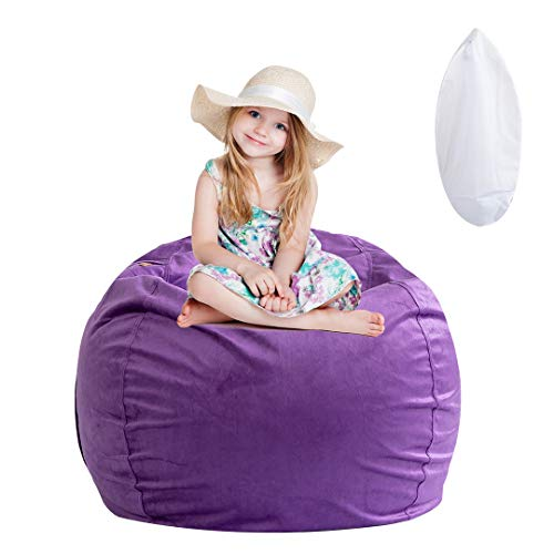 """Stuffed Animal Storage Bean Bag Chair, Soft Velvet BeanBag Cover Only with Inner Liner for Organizing Plush Toys, Beans - Update The Old Beanbag into a New Bean Bag Seat for Kids - 38"""" Extra Large"""