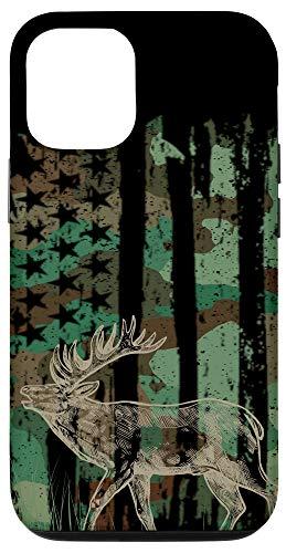 iPhone 12/12 Pro Camouflage American Camo Flag Elk Deer Hunting Men Hunter Case