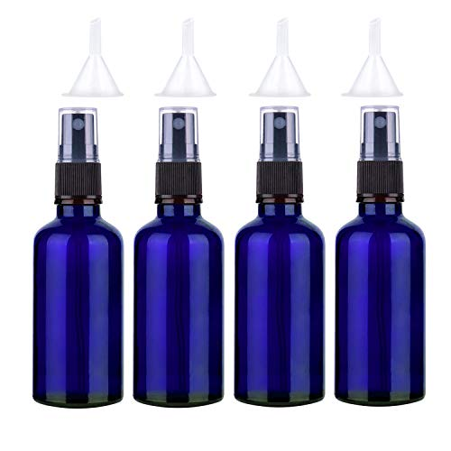 Sookg 4×100ml Glas Sprühflaschen Leer,Es hat eine Zerstäubungsfunktion und eine anti-ultraviolette Wirkung,für Ätherische Öle,Parfums,Festiger (Blau)
