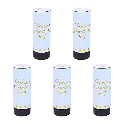 NUOBESTY 5 Pièces Papier Confetti Canons Poppers Confettis De Mariage Baby Shower de Fête D' Anniversaire Fournitures (Bleu 11Cm)