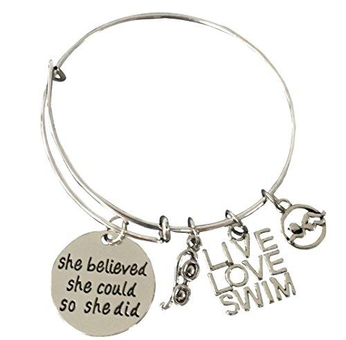 Swimming Bracelet- Swim Charm Bangle Bracelet- Swim She Believed She Could Jewelry - Gift For Swimmers