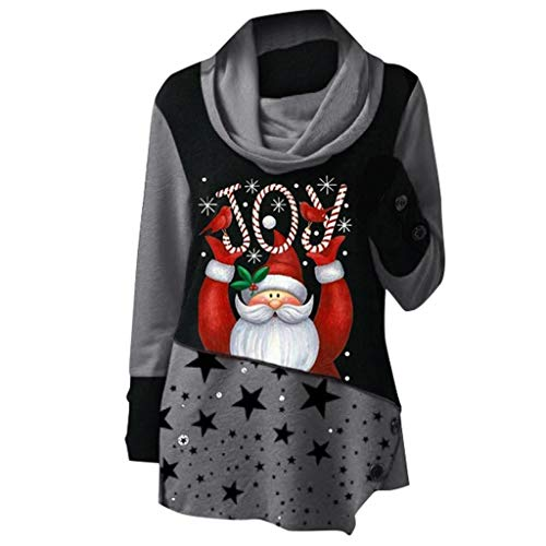 Cheapest Prices! RUIVE Christmas Pullover for Women's Xmas Claus Print Tops Patchwork Sweatshirt T...