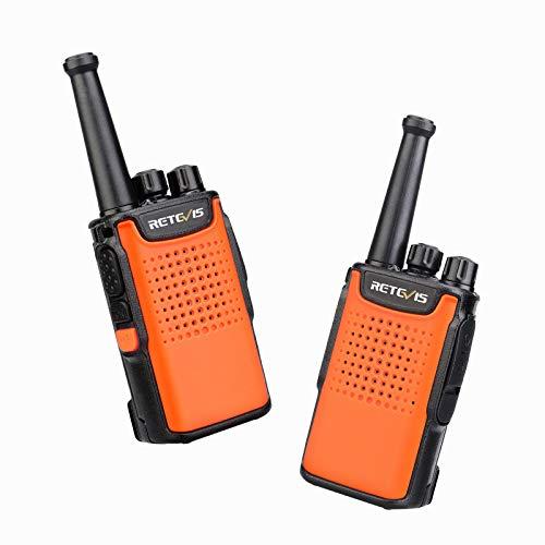 Retevis RT667 Walkie Talkie, LED Taschenlampe, Funkgeräte 3000mAh Li-ion Batterie, PMR446 Lizenzfrei 16 Kanäle, VOX USB Ladekabel, Wiederaufladbar Funkgerät für Wandern, Skifahren(2 Stück, Orange)