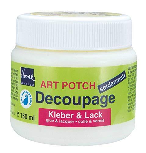 Kreul 48251 - Art Potch Decoupage Kleber und Lack seidenmatt, 150 ml, auf Wasserbasis, trocknet schnell und transparent