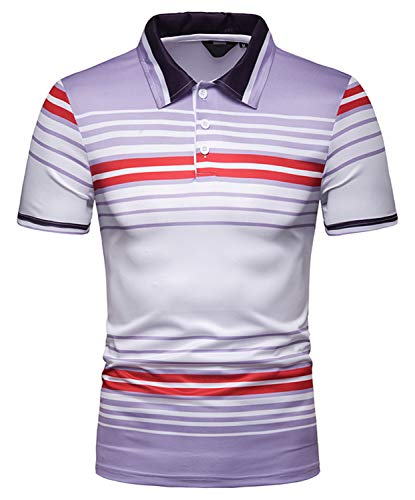 WHATLEES Herren Gestreift Poloshirt Kurzarm Polohemd Freizeit Casual bunt Polo mit 3D Print Streifen Muster