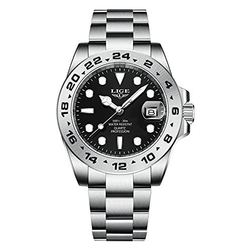 LIGE Relojes Hombre Impermeable Acero Inoxidable Analógico de Cuarzo Reloj Pulsera Brillante Fecha Elegante Regalo Diseñador Negro